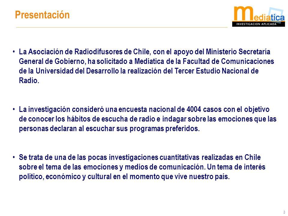 2 Presentación La Asociación de Radiodifusores de Chile, con el apoyo del Ministerio Secretaría General de Gobierno, ha solicitado a Mediatica de la F