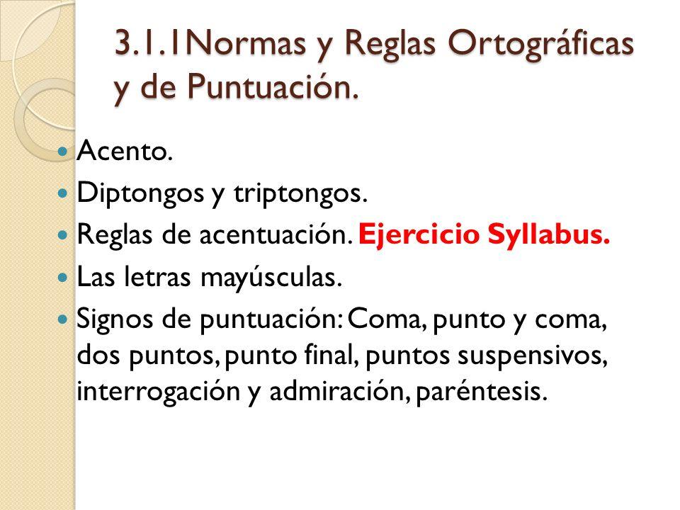 3.1.1Normas y Reglas Ortográficas y de Puntuación. Acento. Diptongos y triptongos. Reglas de acentuación. Ejercicio Syllabus. Las letras mayúsculas. S