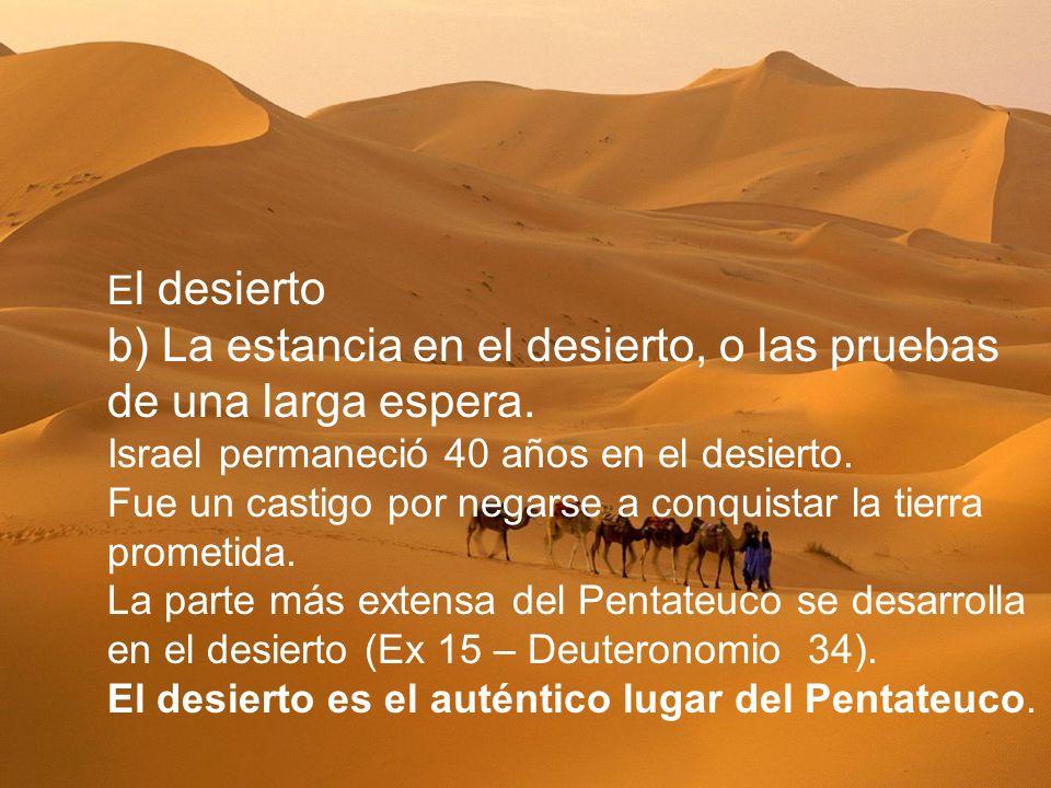 E l desierto b) La estancia en el desierto, o las pruebas de una larga espera. Israel permaneció 40 años en el desierto. Fue un castigo por negarse a