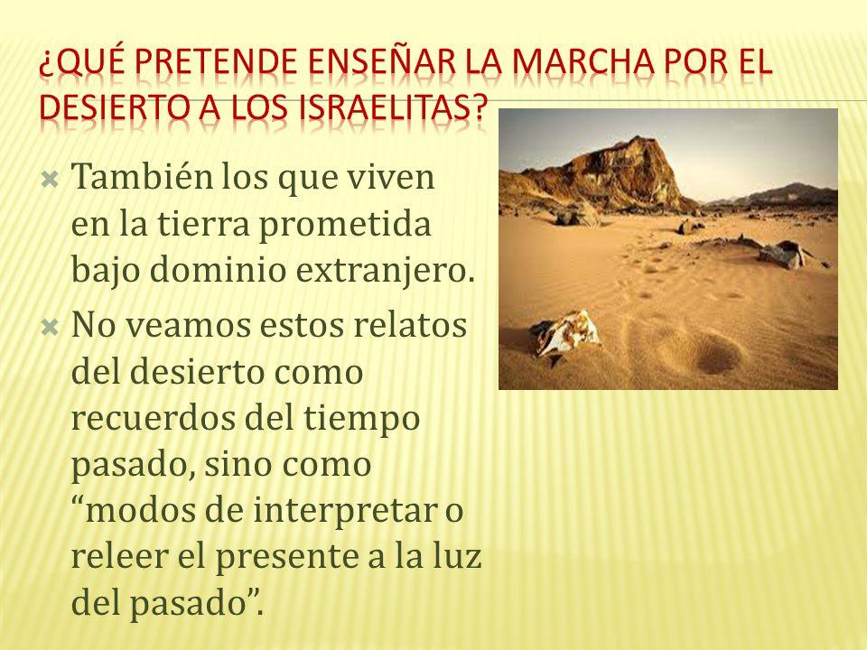 También los que viven en la tierra prometida bajo dominio extranjero. No veamos estos relatos del desierto como recuerdos del tiempo pasado, sino como