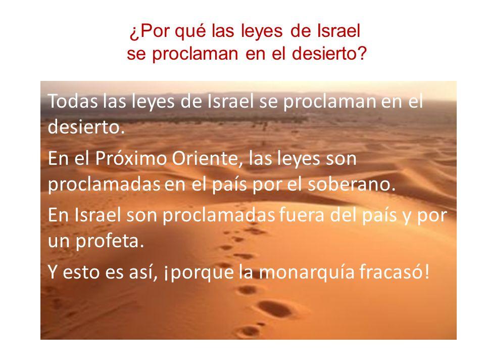 Todas las leyes de Israel se proclaman en el desierto. En el Próximo Oriente, las leyes son proclamadas en el país por el soberano. En Israel son proc