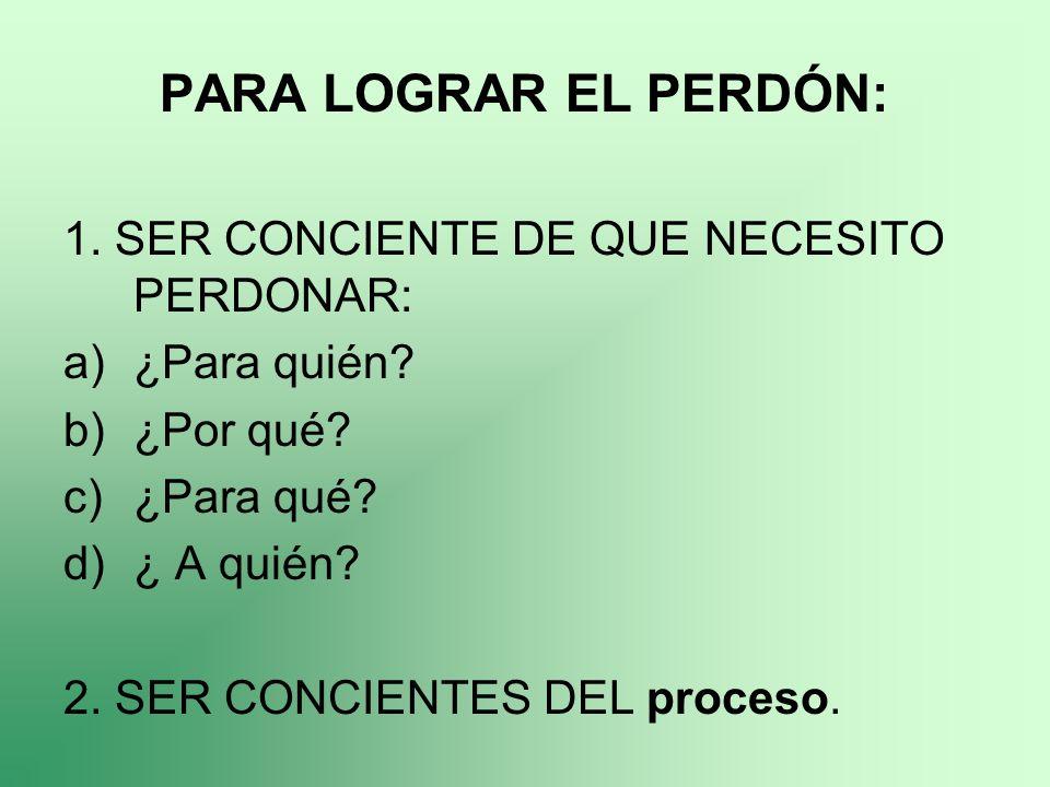 PARA LOGRAR EL PERDÓN: 1. SER CONCIENTE DE QUE NECESITO PERDONAR: a)¿Para quién? b)¿Por qué? c)¿Para qué? d)¿ A quién? 2. SER CONCIENTES DEL proceso.