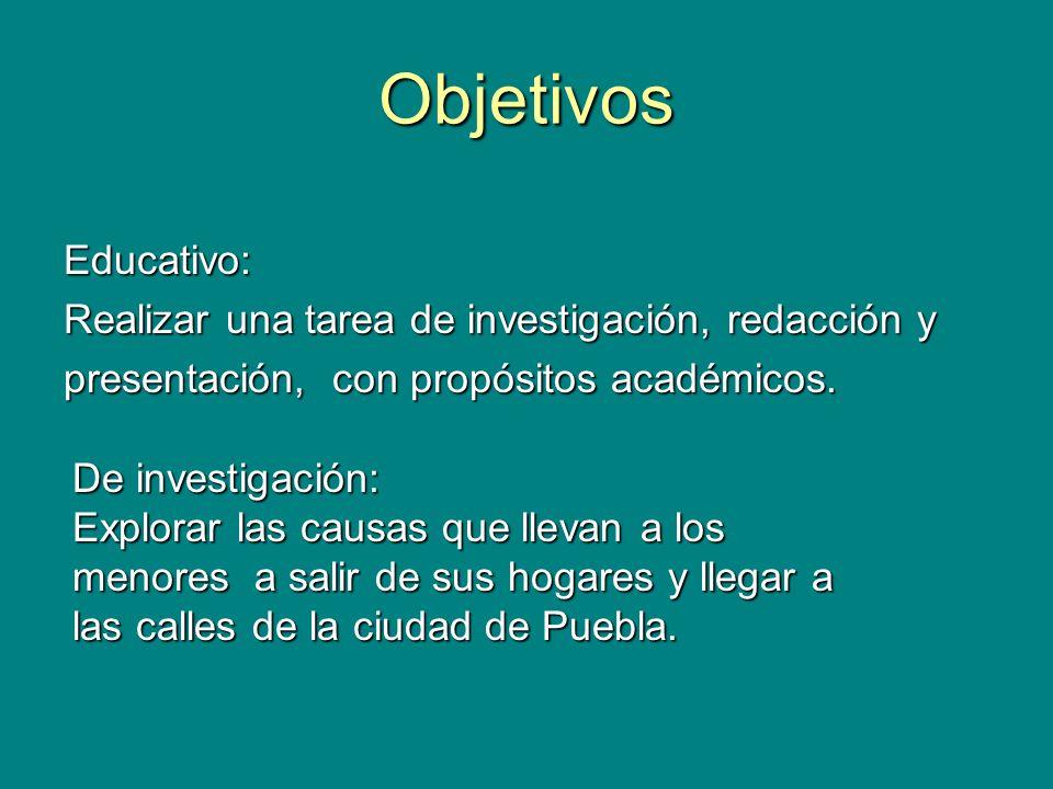 Objetivos Educativo: Realizar una tarea de investigación, redacción y presentación, con propósitos académicos. De investigación: Explorar las causas q