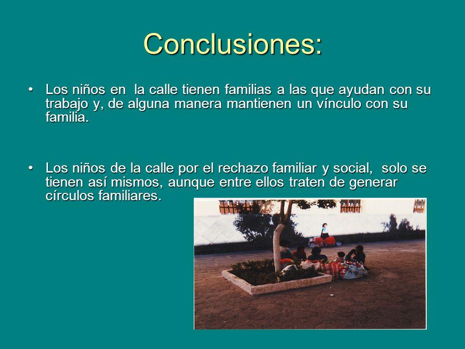 Conclusiones: Los niños en la calle tienen familias a las que ayudan con su trabajo y, de alguna manera mantienen un vínculo con su familia.Los niños