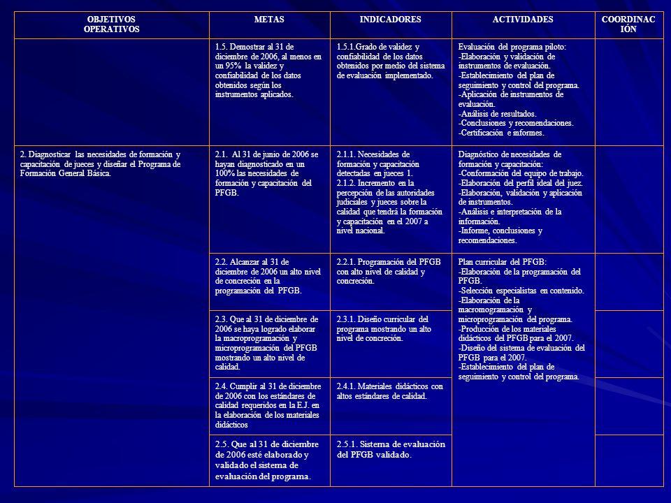 OBJETIVOS OPERATIVOS METASINDICADORE S ACTIVIDADESCOORDINAC IÓN PROGRAMA DE ESPECIALIZACIÓN DE JUECES (PEJ) 3.