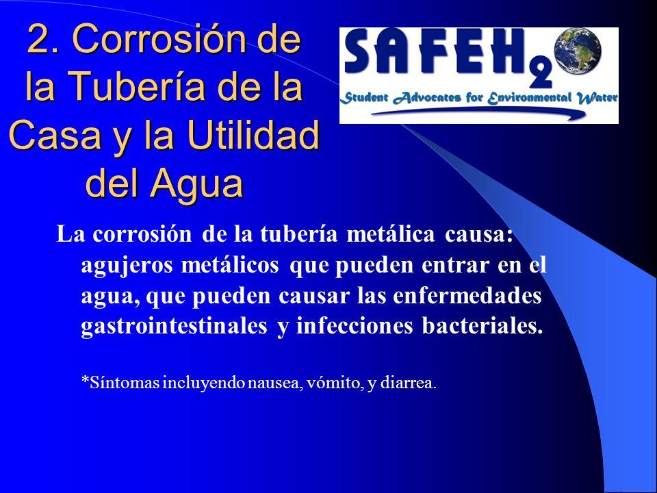2. Corrosión de la Tubería de la Casa y la Utilidad del Agua La corrosión de la tubería metálica causa: agujeros metálicos que pueden entrar en el agu