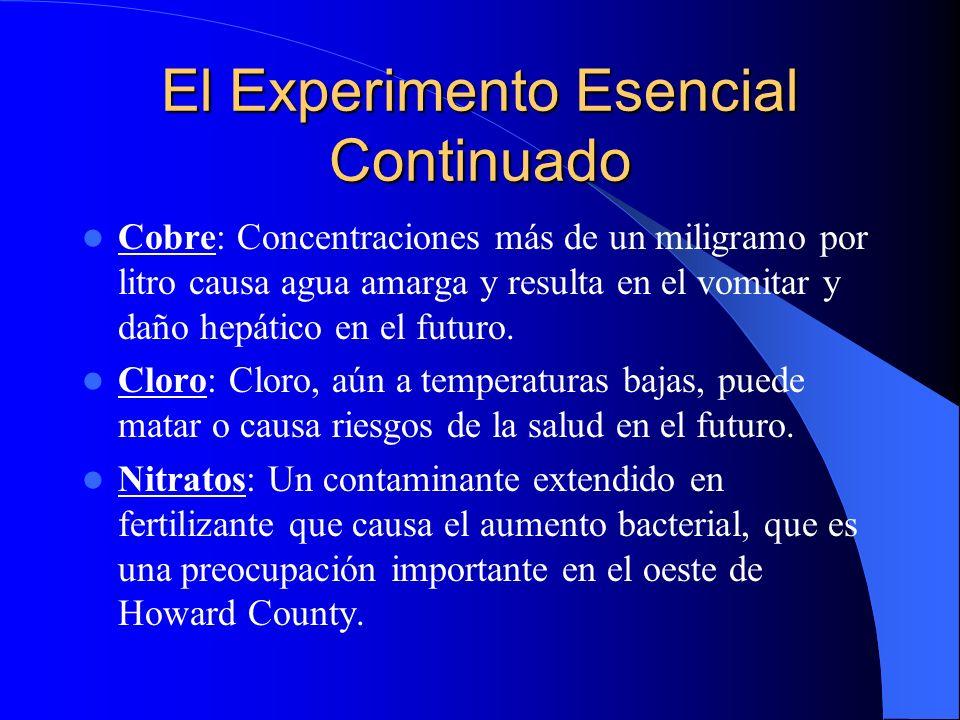 El Experimento Esencial Continuado Cobre: Concentraciones más de un miligramo por litro causa agua amarga y resulta en el vomitar y daño hepático en el futuro.