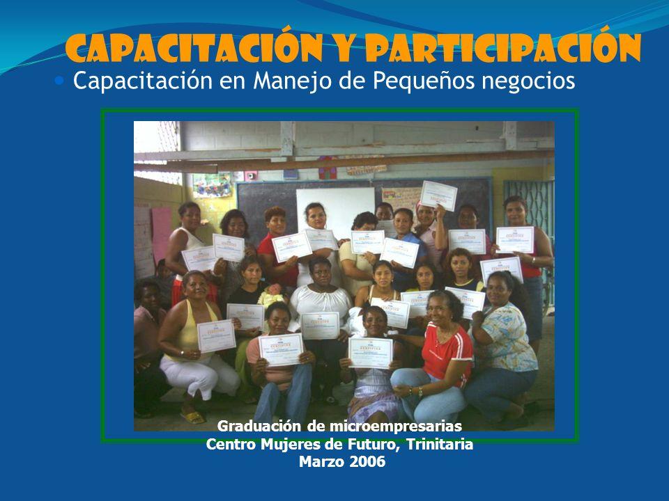 capacitación y participación Capacitación en Manejo de Pequeños negocios Graduación de microempresarias Centro Mujeres de Futuro, Trinitaria Marzo 2006