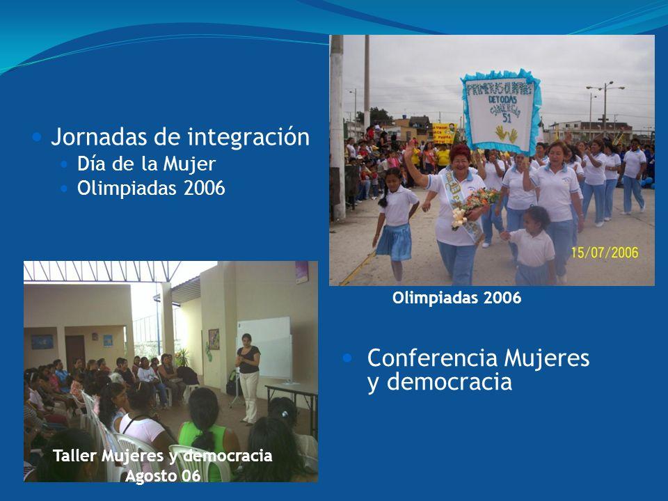 Jornadas de integración Día de la Mujer Olimpiadas 2006 Conferencia Mujeres y democracia Taller Mujeres y democracia Agosto 06