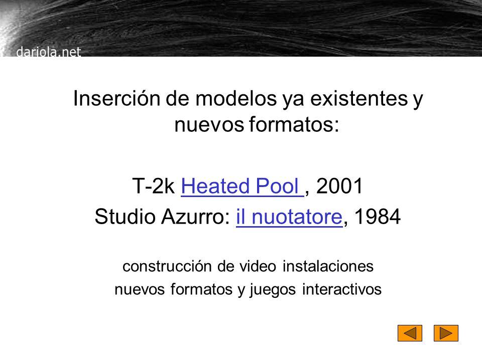 Inserción de modelos ya existentes y nuevos formatos: T-2k Heated Pool, 2001Heated Pool Studio Azurro: il nuotatore, 1984il nuotatore construcción de video instalaciones nuevos formatos y juegos interactivos