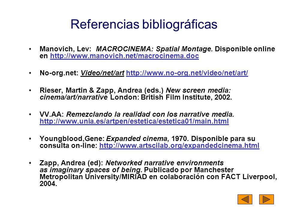 Referencias bibliográficas Manovich, Lev: MACROCINEMA: Spatial Montage. Disponible online en http://www.manovich.net/macrocinema.dochttp://www.manovic