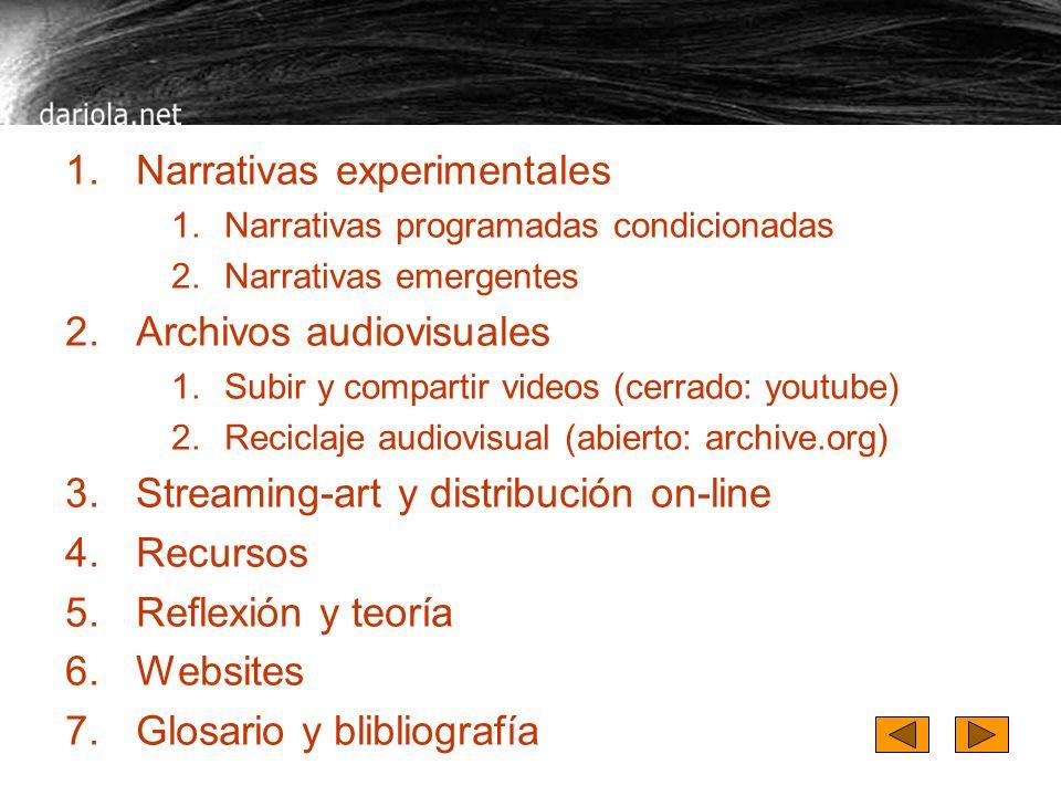 Contenidos de dariola 1.Narrativas experimentales 1.Narrativas programadas condicionadas 2.Narrativas emergentes 2.Archivos audiovisuales 1.Subir y co