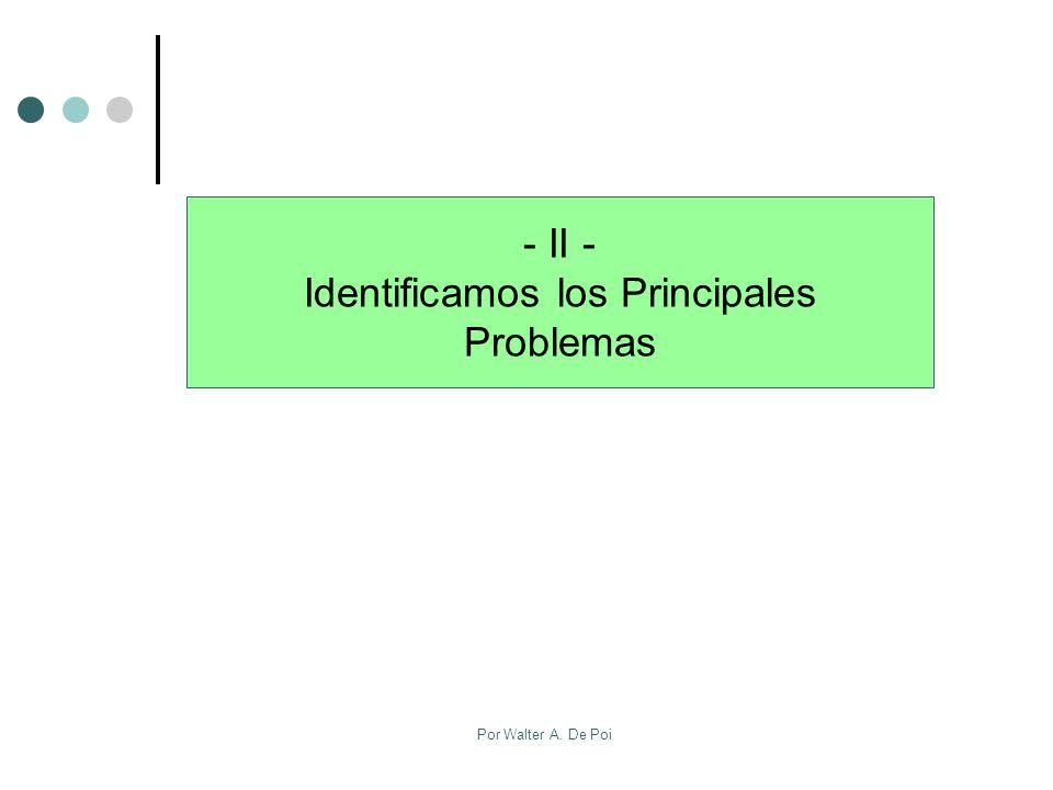 Por Walter A. De Poi - II - Identificamos los Principales Problemas