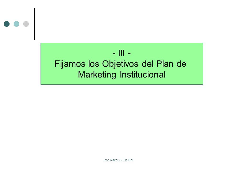 Por Walter A. De Poi - III - Fijamos los Objetivos del Plan de Marketing Institucional