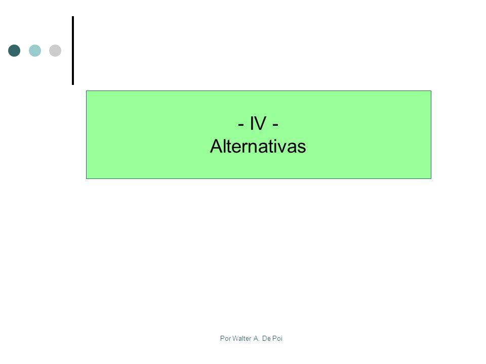 Por Walter A. De Poi - IV - Alternativas