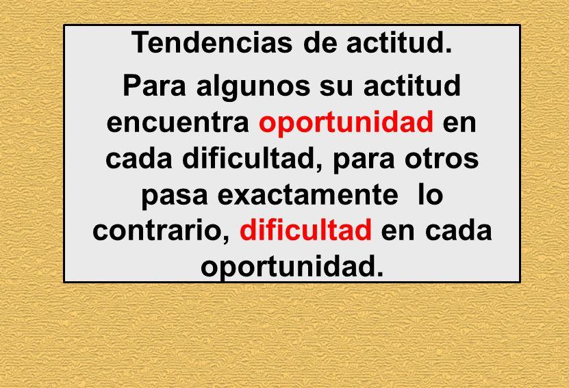 Tendencias de actitud. Para algunos su actitud encuentra oportunidad en cada dificultad, para otros pasa exactamente lo contrario, dificultad en cada