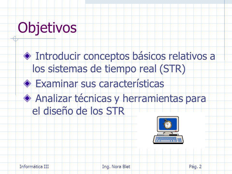 Informática IIIIng. Nora BletPág. 43 Diseño de Sistemas en tiempo real