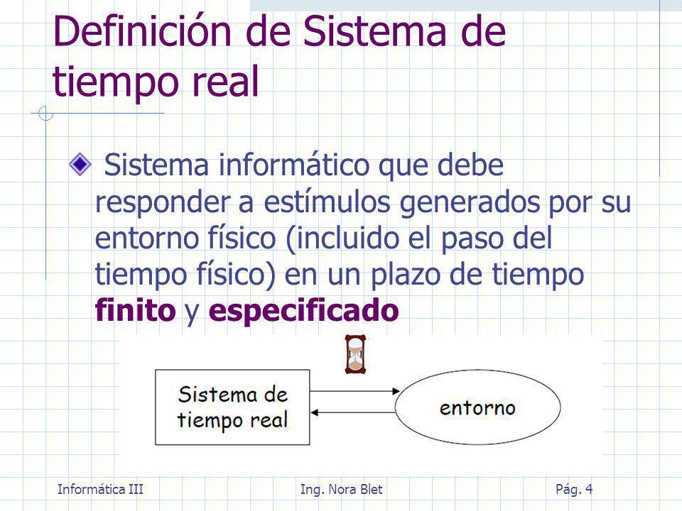 Informática IIIIng. Nora BletPág. 25 Tipos de requisitos temporales