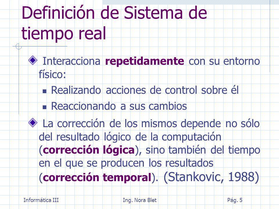 Informática IIIIng. Nora BletPág. 26 Ejemplos de Sistemas en tiempo real