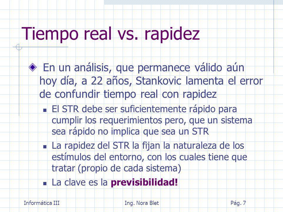 Informática IIIIng. Nora BletPág. 8 Tiempo real vs. rapidez
