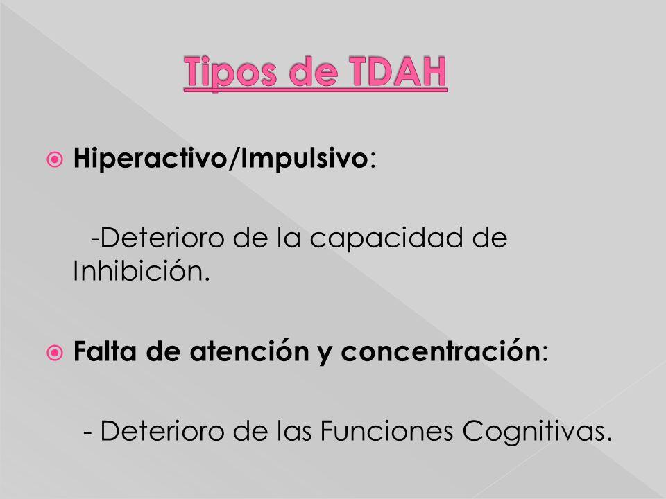 Hiperactivo/Impulsivo : -Deterioro de la capacidad de Inhibición. Falta de atención y concentración : - Deterioro de las Funciones Cognitivas.