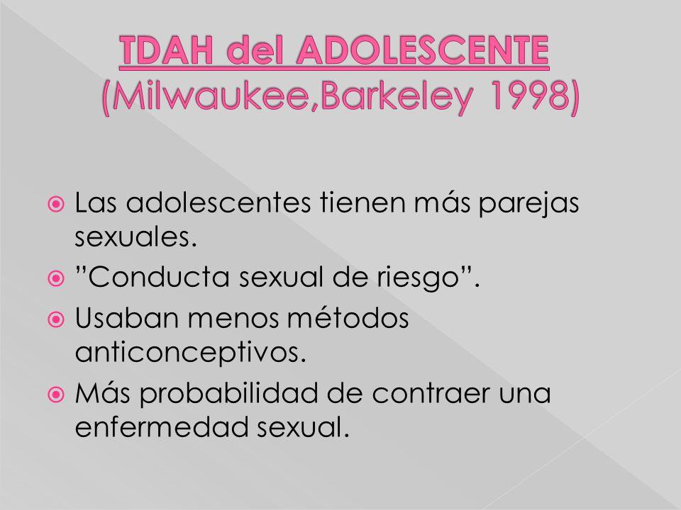 Las adolescentes tienen más parejas sexuales. Conducta sexual de riesgo. Usaban menos métodos anticonceptivos. Más probabilidad de contraer una enferm