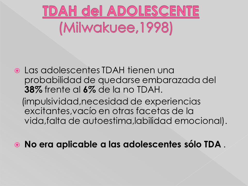 Las adolescentes TDAH tienen una probabilidad de quedarse embarazada del 38% frente al 6% de la no TDAH. (impulsividad,necesidad de experiencias excit