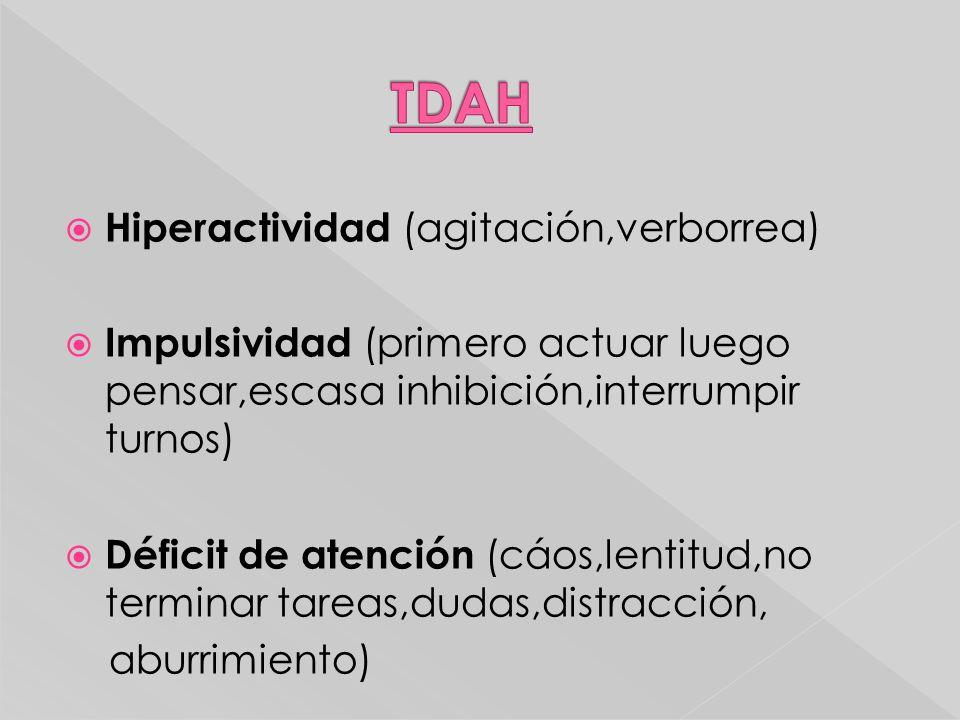 Hiperactividad (agitación,verborrea) Impulsividad (primero actuar luego pensar,escasa inhibición,interrumpir turnos) Déficit de atención (cáos,lentitu