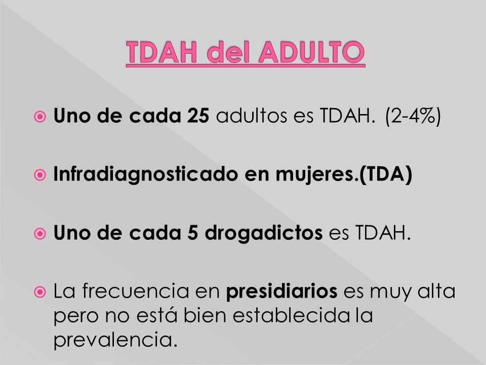 Uno de cada 25 adultos es TDAH. (2-4%) Infradiagnosticado en mujeres.(TDA) Uno de cada 5 drogadictos es TDAH. La frecuencia en presidiarios es muy alt