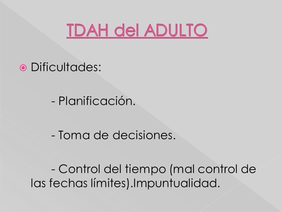 Dificultades: - Planificación. - Toma de decisiones. - Control del tiempo (mal control de las fechas límites).Impuntualidad.