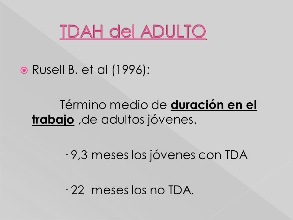 Rusell B. et al (1996): Término medio de duración en el trabajo,de adultos jóvenes. · 9,3 meses los jóvenes con TDA · 22 meses los no TDA.