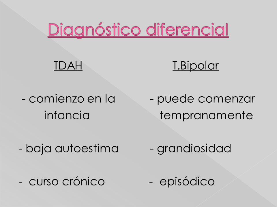 TDAH T.Bipolar - comienzo en la - puede comenzar infancia tempranamente - baja autoestima - grandiosidad - curso crónico - episódico