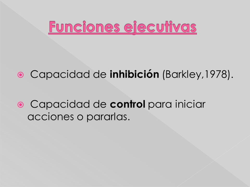 Capacidad de inhibición (Barkley,1978). Capacidad de control para iniciar acciones o pararlas.