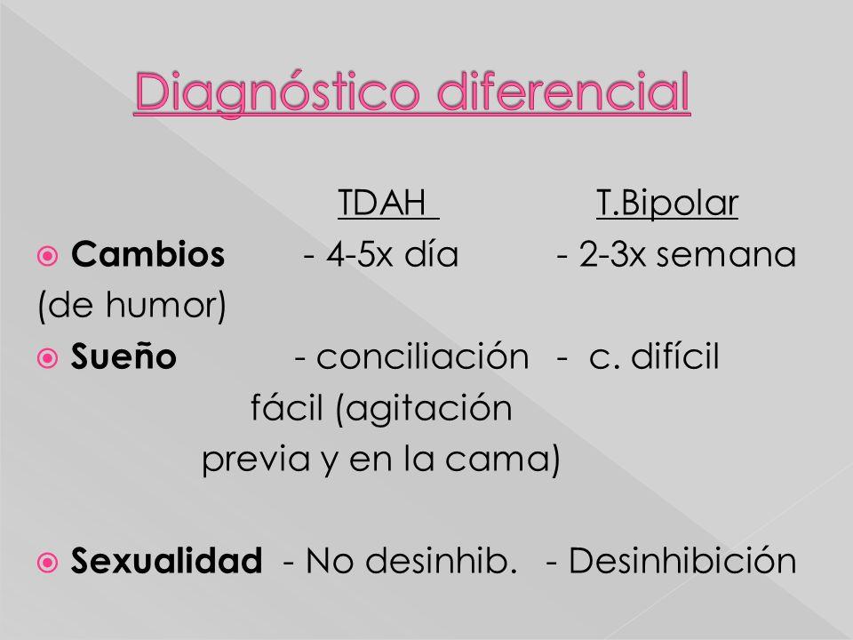 TDAH T.Bipolar Cambios - 4-5x día - 2-3x semana (de humor) Sueño - conciliación - c. difícil fácil (agitación previa y en la cama) Sexualidad - No des