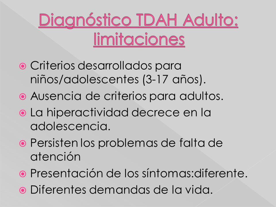 Criterios desarrollados para niños/adolescentes (3-17 años). Ausencia de criterios para adultos. La hiperactividad decrece en la adolescencia. Persist