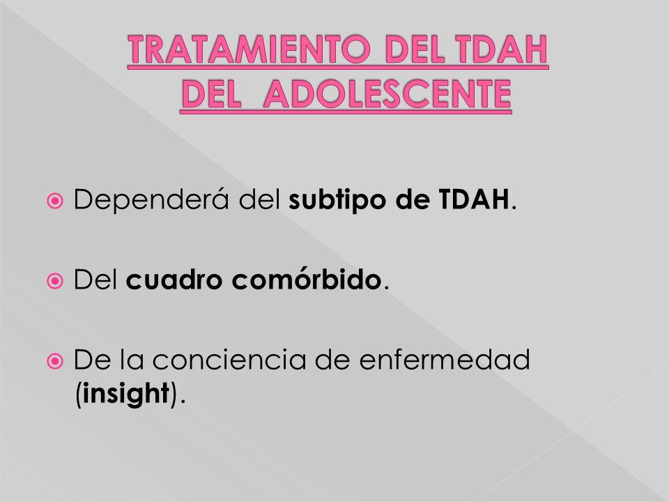 Dependerá del subtipo de TDAH. Del cuadro comórbido. De la conciencia de enfermedad ( insight ).