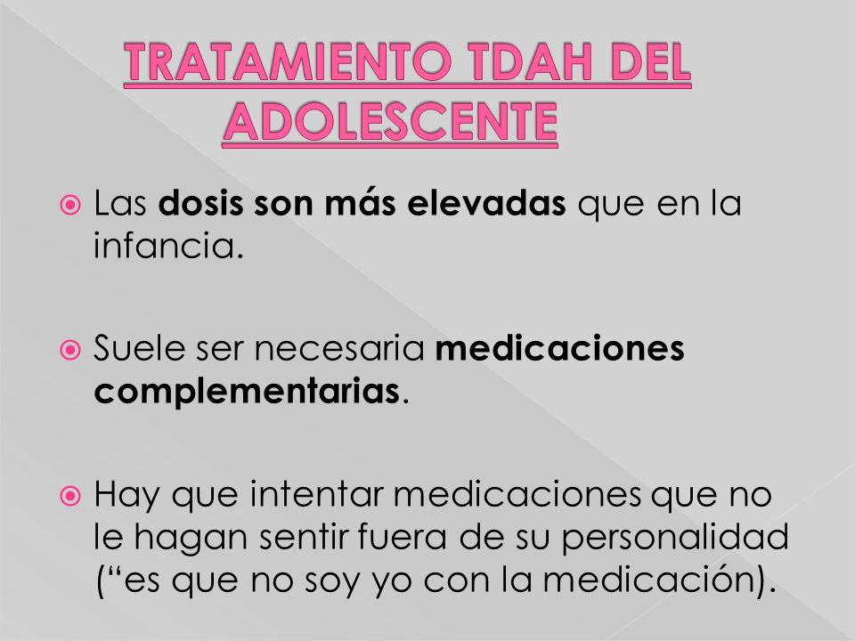 Las dosis son más elevadas que en la infancia. Suele ser necesaria medicaciones complementarias. Hay que intentar medicaciones que no le hagan sentir