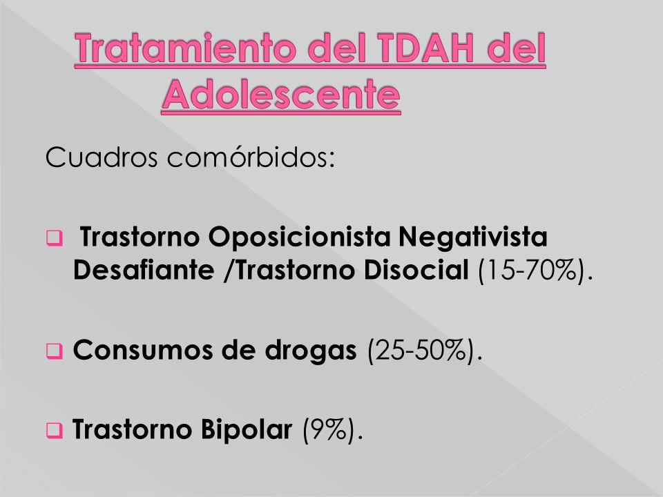 Cuadros comórbidos: Trastorno Oposicionista Negativista Desafiante /Trastorno Disocial (15-70%). Consumos de drogas (25-50%). Trastorno Bipolar (9%).