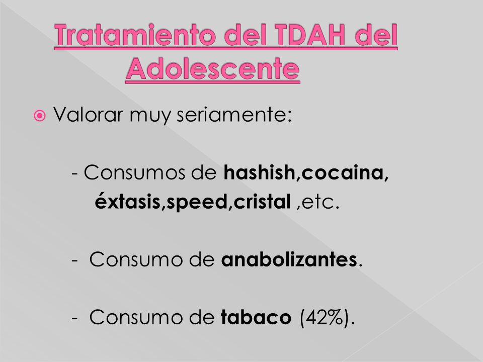 Valorar muy seriamente: - Consumos de hashish,cocaina, éxtasis,speed,cristal,etc. - Consumo de anabolizantes. - Consumo de tabaco (42%).