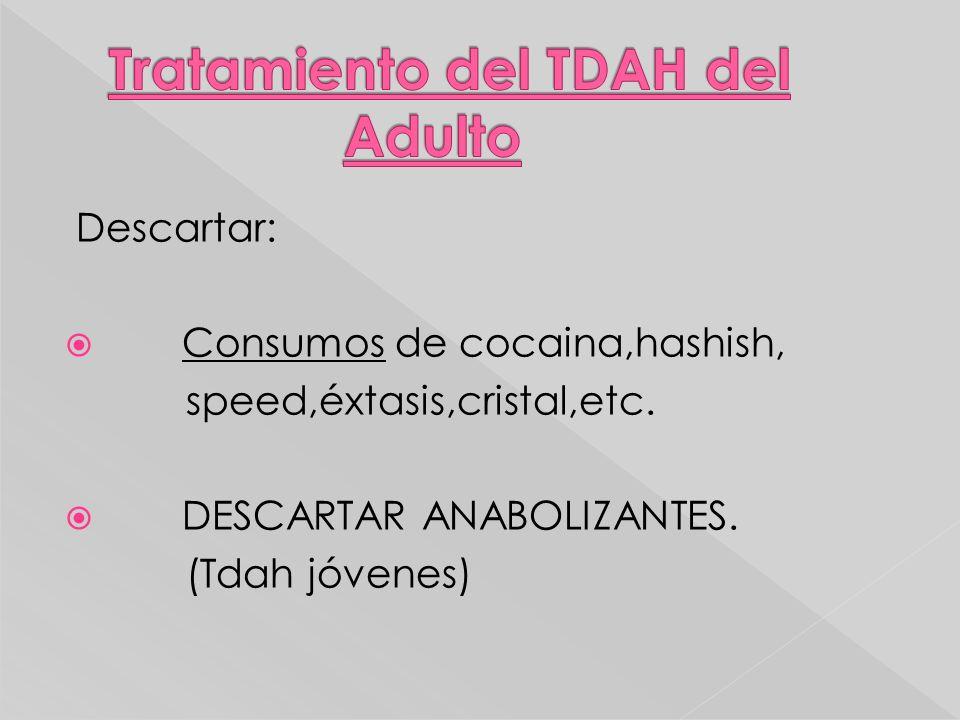 Descartar: Consumos de cocaina,hashish, speed,éxtasis,cristal,etc. DESCARTAR ANABOLIZANTES. (Tdah jóvenes)