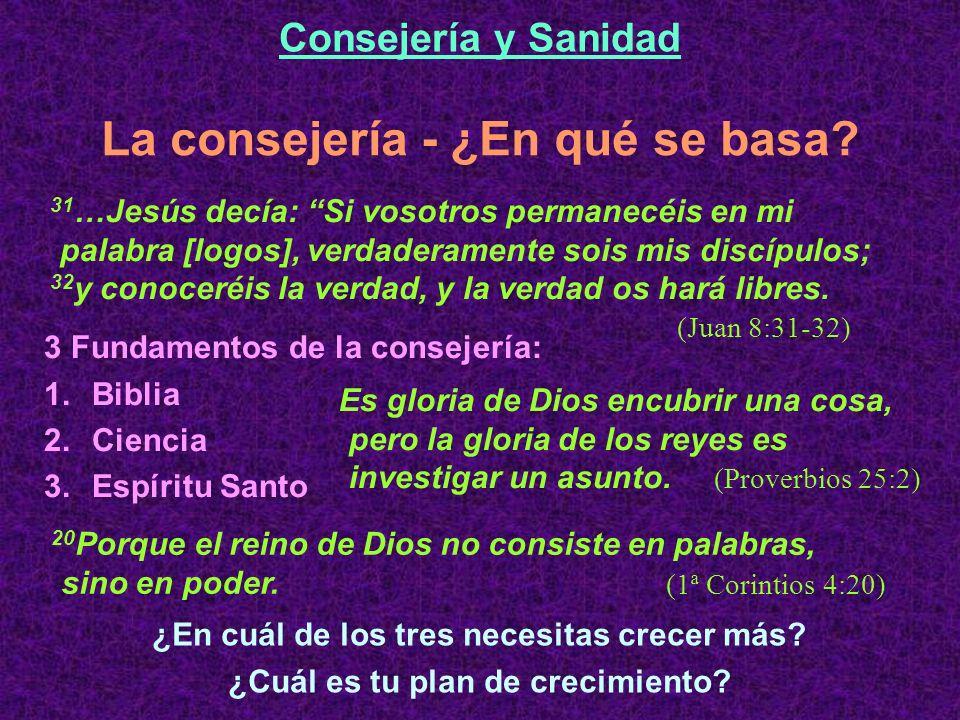 3 Fundamentos de la consejería: 1.Biblia 2.Ciencia 3.Espíritu Santo La consejería - ¿En qué se basa.
