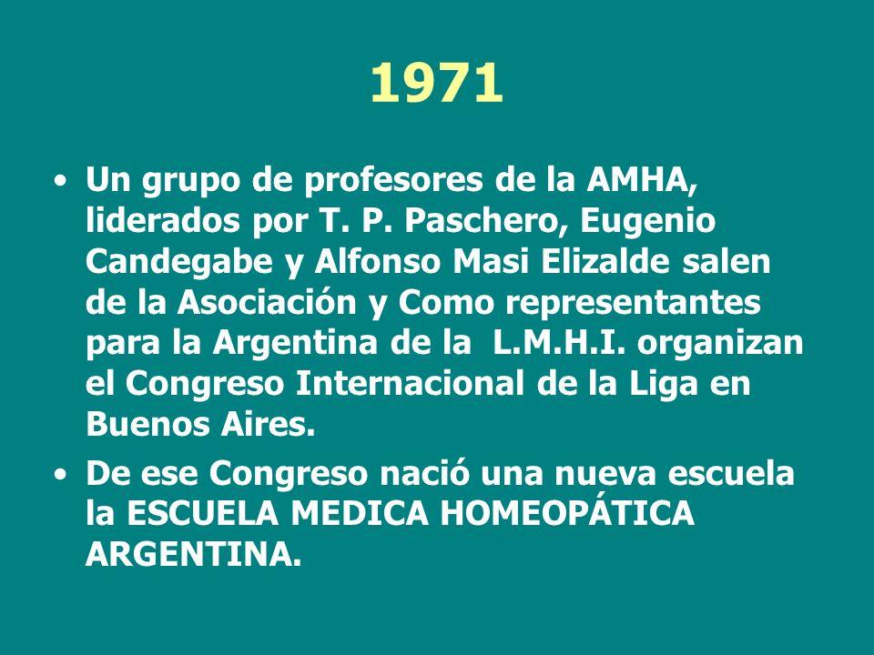 1971 Un grupo de profesores de la AMHA, liderados por T. P. Paschero, Eugenio Candegabe y Alfonso Masi Elizalde salen de la Asociación y Como represen