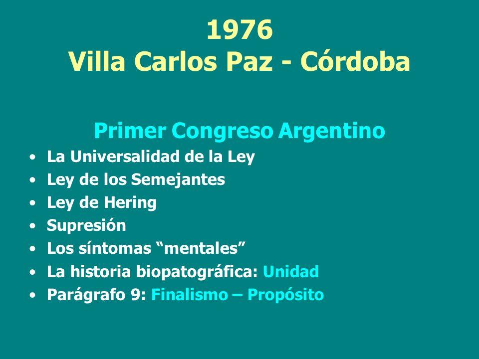 1976 Villa Carlos Paz - Córdoba Primer Congreso Argentino La Universalidad de la Ley Ley de los Semejantes Ley de Hering Supresión Los síntomas mental