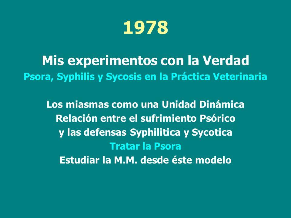 1978 Mis experimentos con la Verdad Psora, Syphilis y Sycosis en la Práctica Veterinaria Los miasmas como una Unidad Dinámica Relación entre el sufrim