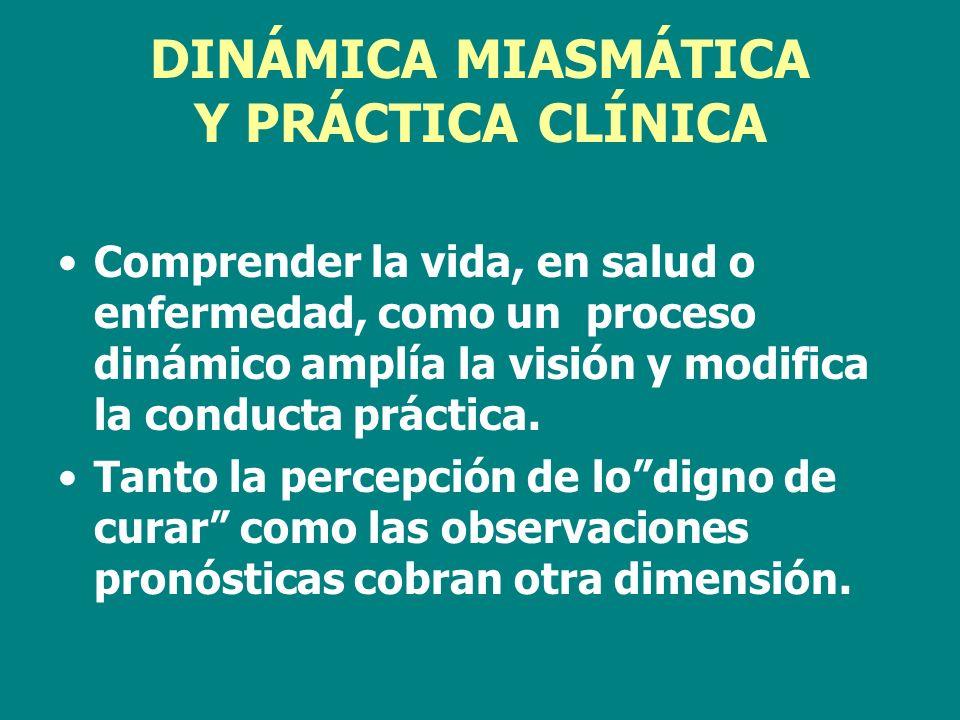 DINÁMICA MIASMÁTICA Y PRÁCTICA CLÍNICA Comprender la vida, en salud o enfermedad, como un proceso dinámico amplía la visión y modifica la conducta prá