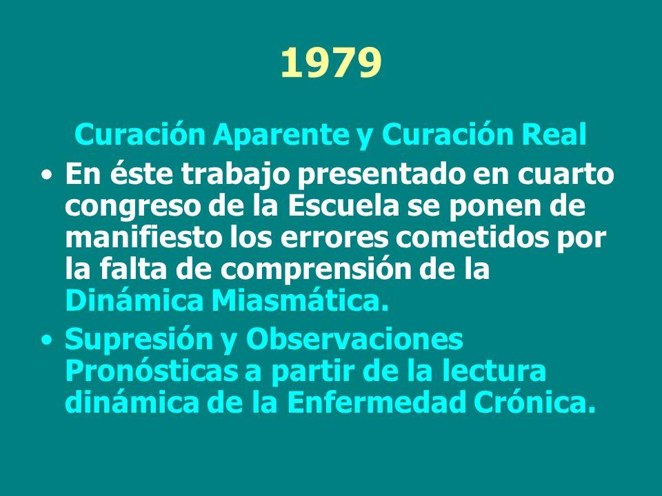 1979 Curación Aparente y Curación Real En éste trabajo presentado en cuarto congreso de la Escuela se ponen de manifiesto los errores cometidos por la