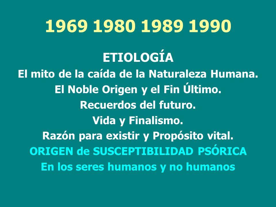 1969 1980 1989 1990 ETIOLOGÍA El mito de la caída de la Naturaleza Humana. El Noble Origen y el Fin Último. Recuerdos del futuro. Vida y Finalismo. Ra
