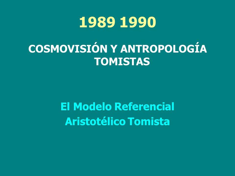 1989 1990 COSMOVISIÓN Y ANTROPOLOGÍA TOMISTAS El Modelo Referencial Aristotélico Tomista