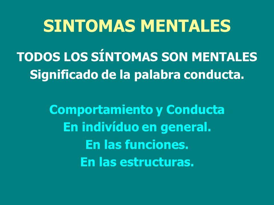 SINTOMAS MENTALES TODOS LOS SÍNTOMAS SON MENTALES Significado de la palabra conducta. Comportamiento y Conducta En indivíduo en general. En las funcio