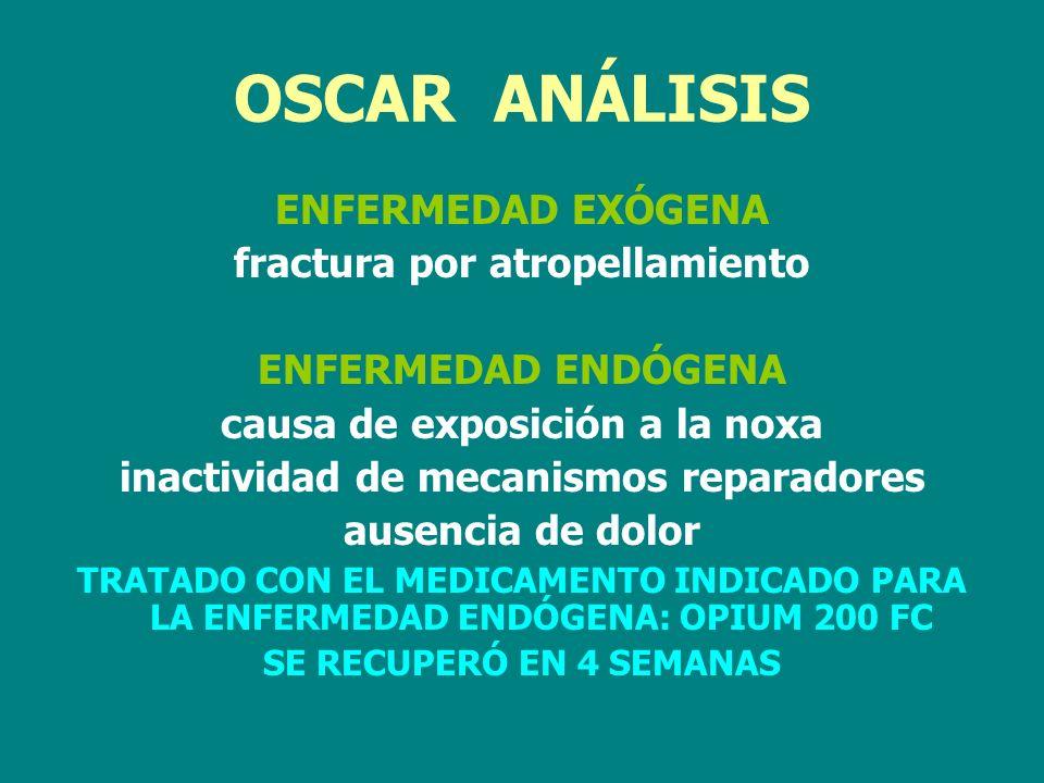 OSCAR ANÁLISIS ENFERMEDAD EXÓGENA fractura por atropellamiento ENFERMEDAD ENDÓGENA causa de exposición a la noxa inactividad de mecanismos reparadores